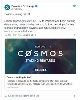 Биржа Poloniex предложила опцию стейкинга для криптовалюты Cosmos (ATOM)
