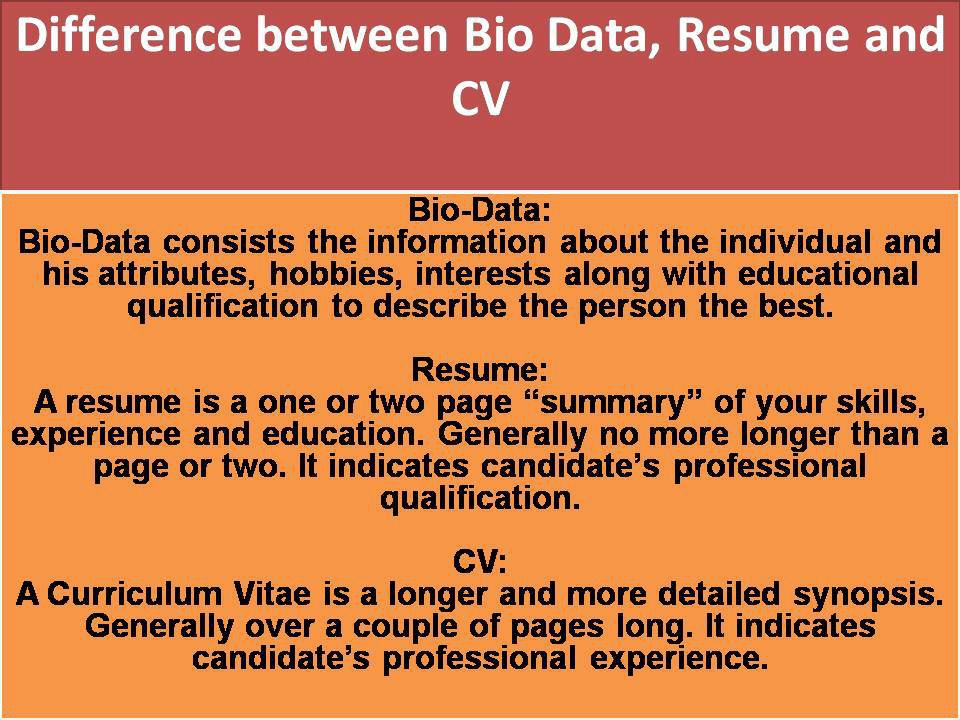 KnowCrazy What is the difference between Biodata, Resume and CV?