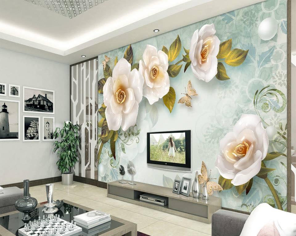 Tranh Dán Tường  Hoa 3D Ngọc Bích
