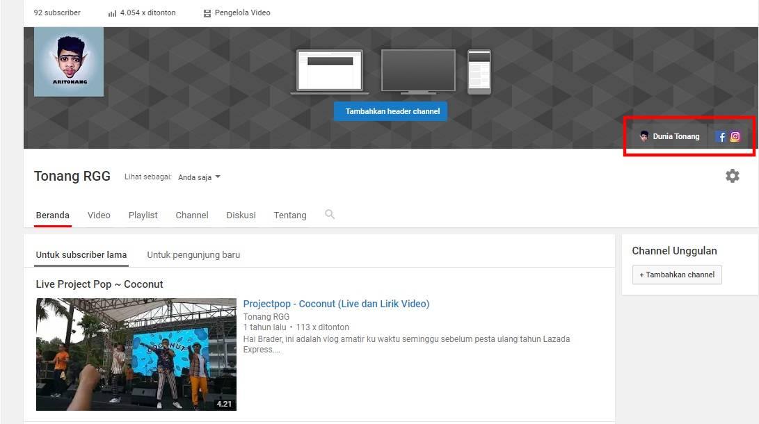 Dunia Tonang, Cara Membuat Link Sosial Media di Banner Youtube, Tonang RGG, TonangRGG