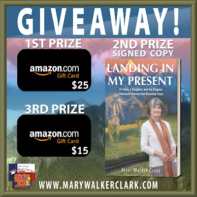 Landing in My Present tour giveaway graphic. Prizes to be awarded precede this image in the post text.