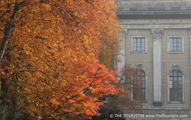 Bright autumn leaves in front of the facade of the Humboldt University