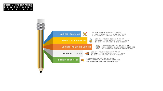 Infographic Pencil PowerPoint Template with Number Option Slide 11