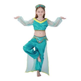 Jasmine principessa indiana de la lampada di Aladin vestito costume danza del ventre maschera carnevale travestimento cosplay bambina misura taglia età 6 7 8 9 10 11 12 anni.