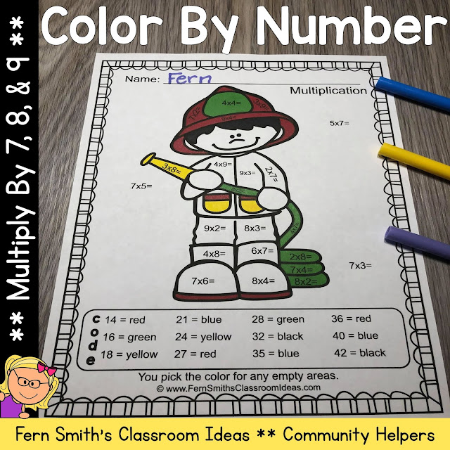 Click Here to Download Just the Multiplication Color By Number Multiply by 7, 8, and 9 Careers - Community Helpers Resource