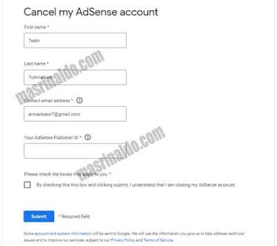 Cara Mengatasi Tombol Batalkan Akun Tidak Muncul di Google Adsense 2