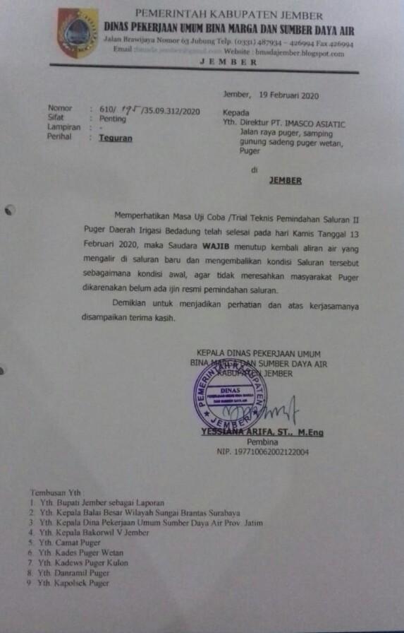 Bupati Bela Kepentingan Rakyat  Surat Teguran  Saluran  Air Kepada  PT Imasco Asiatic di Puger