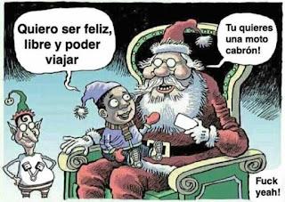 Papa Noel dice niño quiere moto para ser libre y viajar