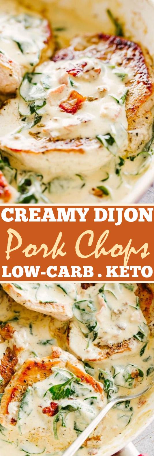 Creamy Dijon Pork Chops #healthy #keto #dinner #pork #lowcarb