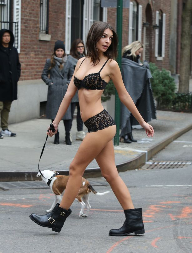 Emily Ratajkowski prances about NY in lace lingerie