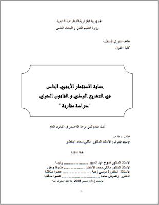 مذكرة ماجستير : حماية الاستثمار الأجنبي الخاص في التشريع الوطني والقانون الدولي PDF