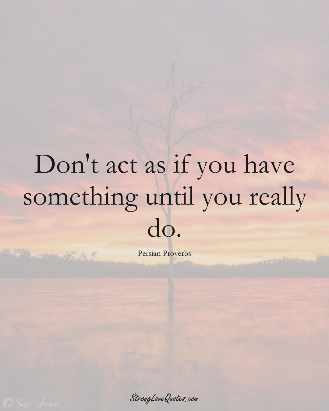 Don't act as if you have something until you really do. (Persian Sayings);  #aVarietyofCulturesSayings