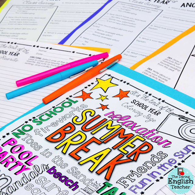End of the year activities and ideas for middle school and high school students.