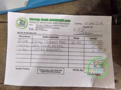 NOTA benih padi yang dibeli    Pak H. EDI Sukabumi, Jabar.    (Beli diatas 50 Kg dapat Diskon).