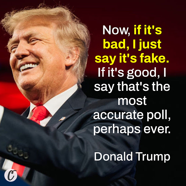 Now, if it's bad, I just say it's fake. If it's good, I say that's the most accurate poll, perhaps ever. — Donald Trump