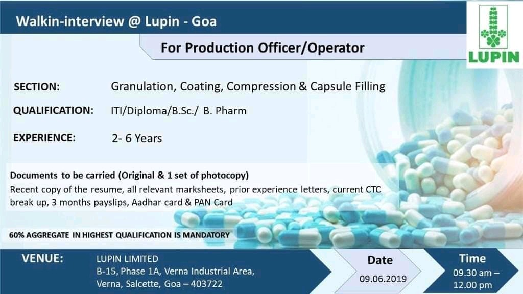 Lupin limited Walk-in interview at Goa on 6st June 2019 - Biotech