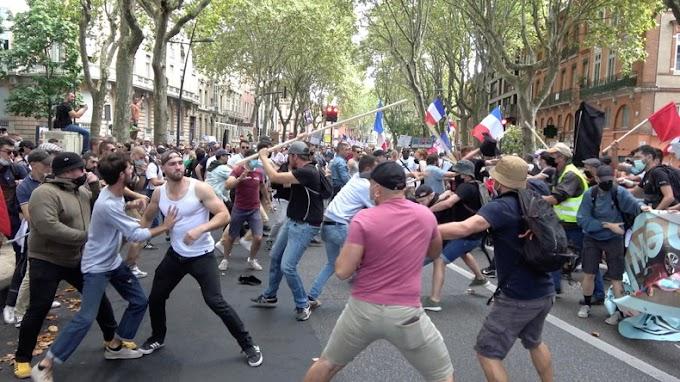 Francia nacionalisták verték az antifákat Toulouse-ban - Videó