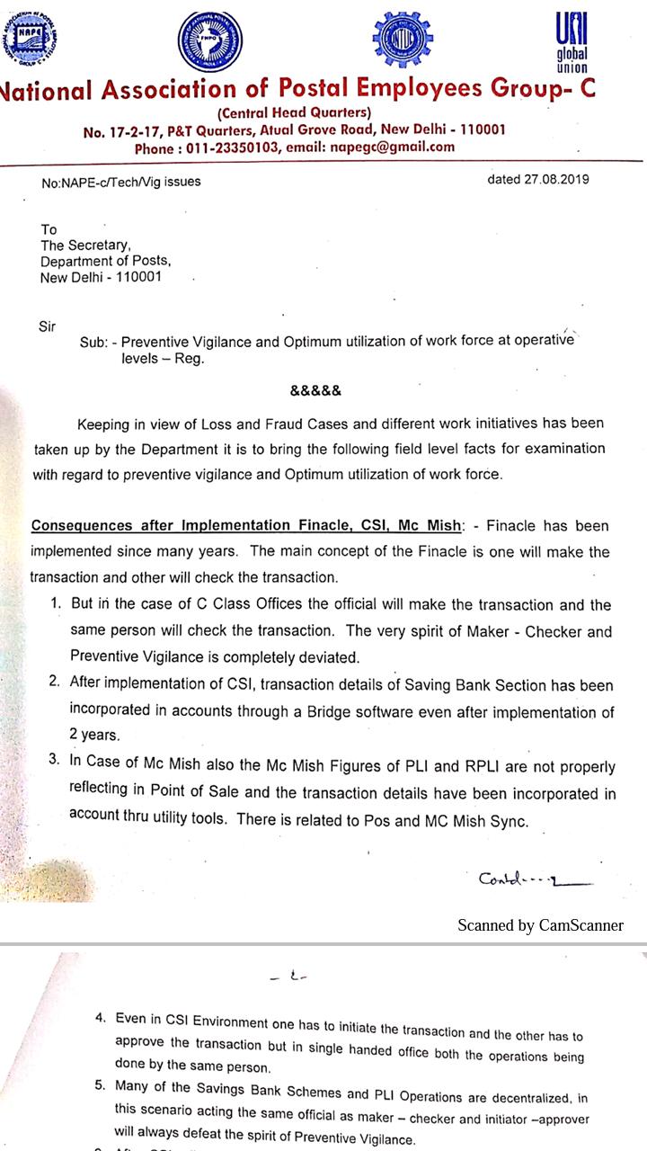 union letter to secretary post