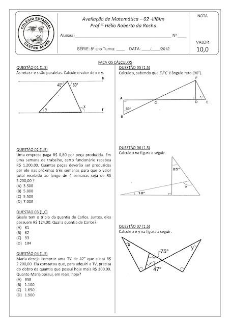 Prova de Matemática 8ano angulos