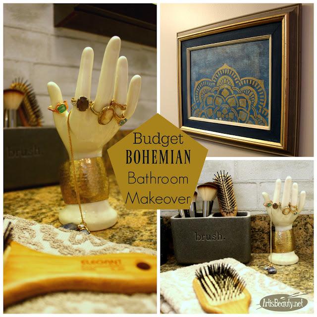 DIY BUDGET BOHEMIAN BOHO CHIC STYLE BATHROOM MAKEOVER GOLD NAVY INDIGO ECLECTIC DIY