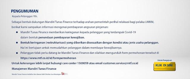 Informasi Restrukturisasi Keringanan Kredit di Mandiri Tunas Finance