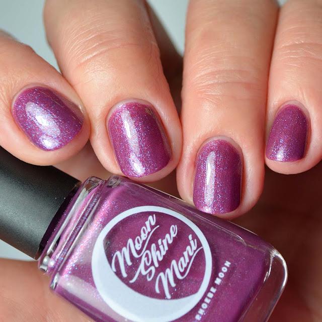 mauve shimmer nail polish four finger swatch