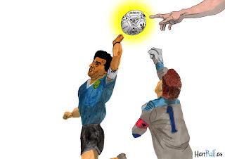 Diego Maradona, Peter Shilton y Dios