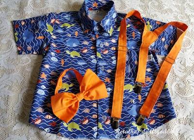 camisa infantil fundo do mar com gravata e suspensório coral