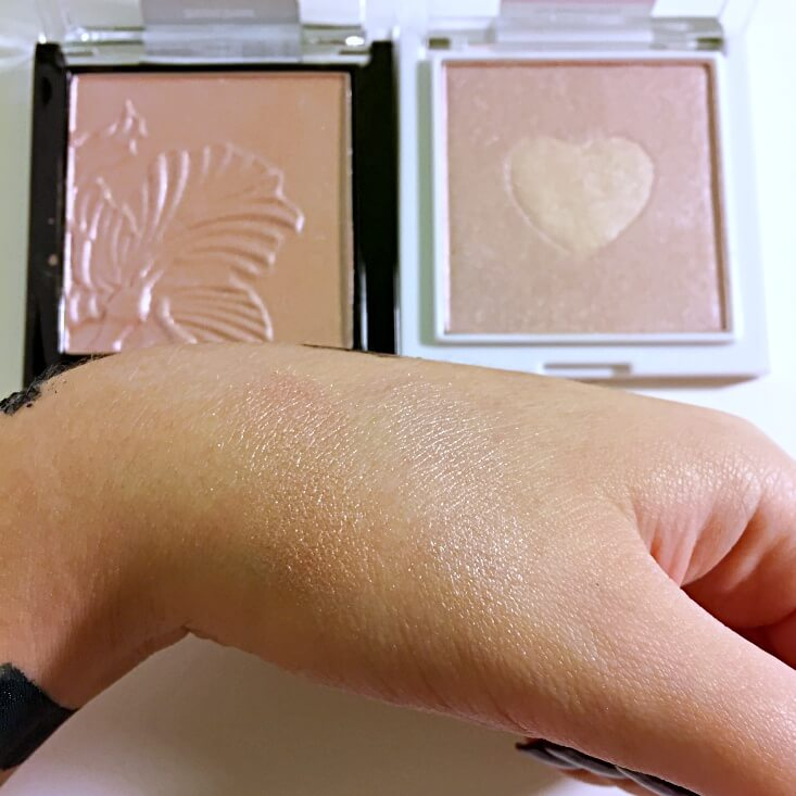 wet n wild megaglo Highlighting Powder Botanic Dream vs The Sweetest Bling swatches