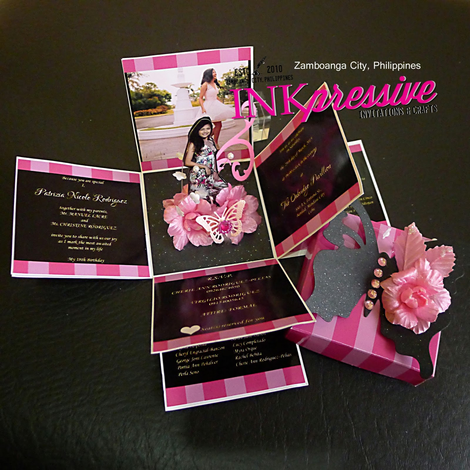 Inspired By The Victoria Secret Pink Stripes This DOUBLE EXPLODING BOX Debut Invitation Is Both Charming And Fun Cover Topped With An Embellished