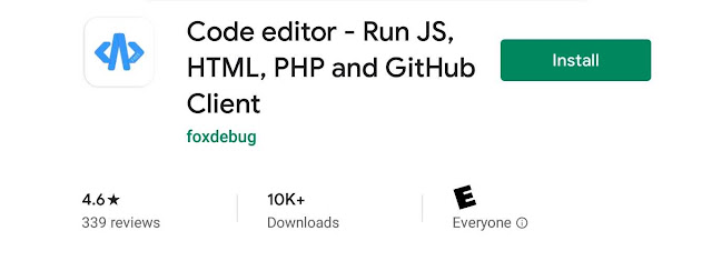 Android mobile code editor from github