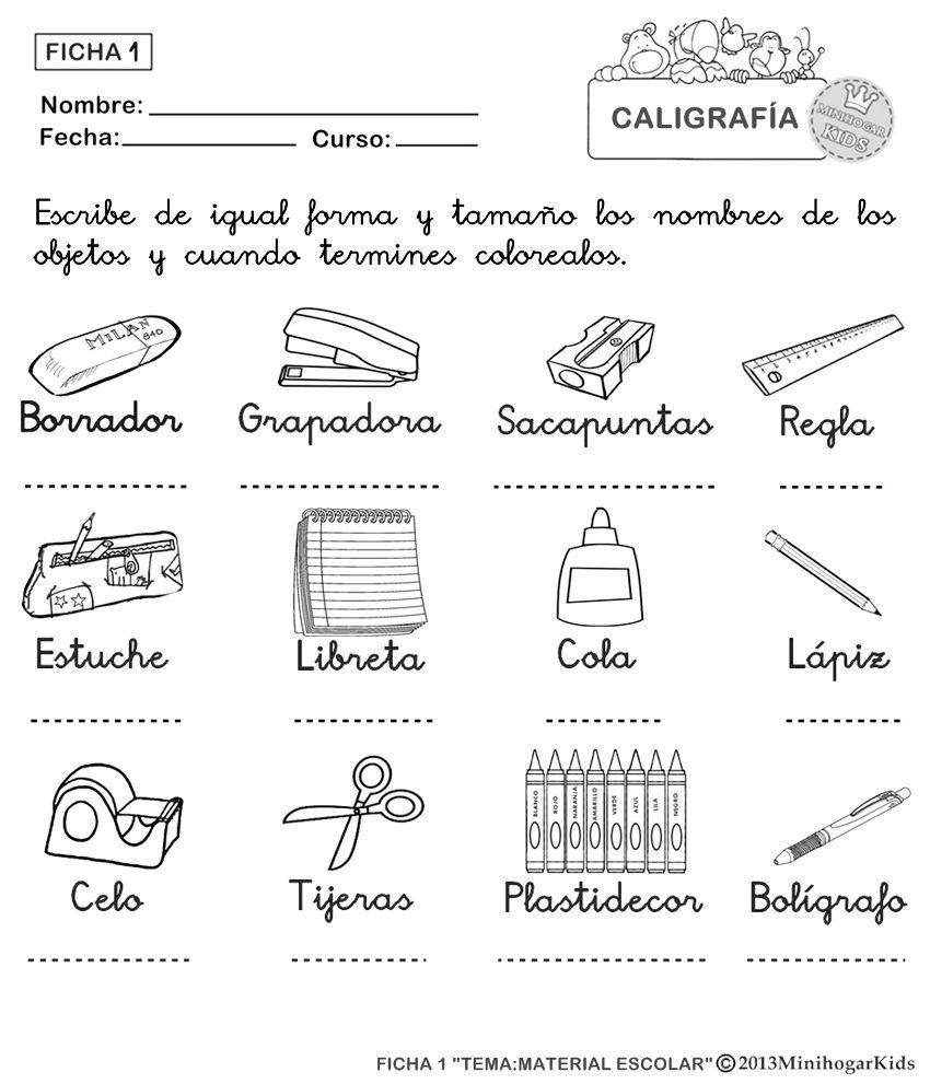 Utiles Escolares En Ingles Para Colorear Tiles Escolares En Ingls