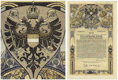 200 Krone bond from the 8th Austrian War Loan, 1918 design by Alfred Offner in Vienna Secession style