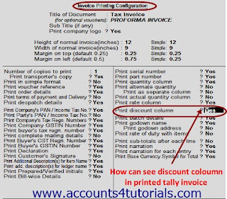 How can see discount coloumn in printed tally invoice