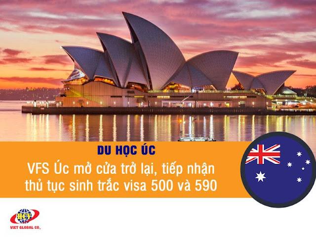 Du học Úc: VFS Úc mở cửa trở lại, tiếp nhận thủ tục sinh trắc học visa 500 & 590
