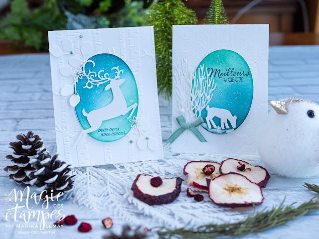 Cartes de Noël de Stampin' Up! avec les découpes Renne ouvragé