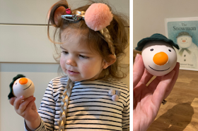 the snowman sensory stressball with squashy nose