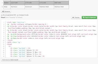 Membuat tabel excel di blog