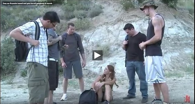 Sexy ass Brunette teased and gets forced gangbang in woods