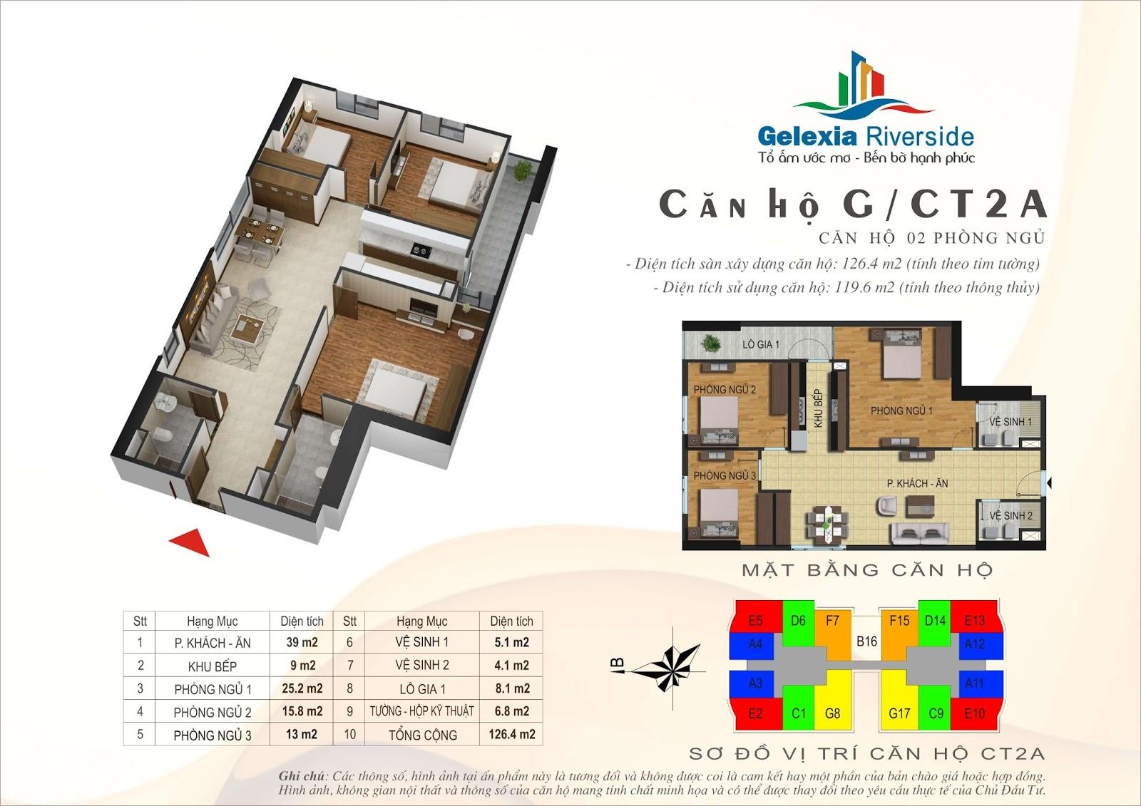 Mặt bằng căn hộ 126,4 m2 tòa CT2A - Gelexia Riverside