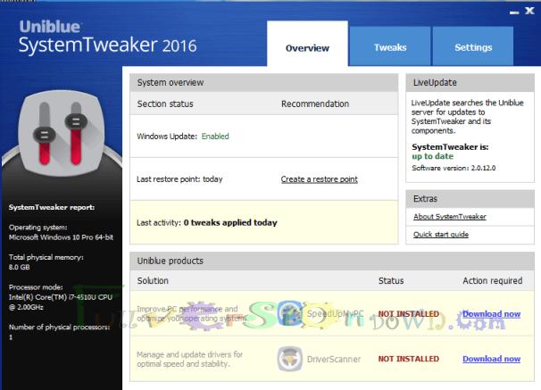 Uniblue SystemTweaker Full Version