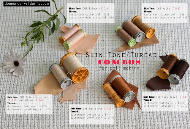 doll knit interlock, doll making, doll making tips, doll skin tricot, down under waldorfs, DWE skin tones, guttermann thread, skin tone and thread combos,