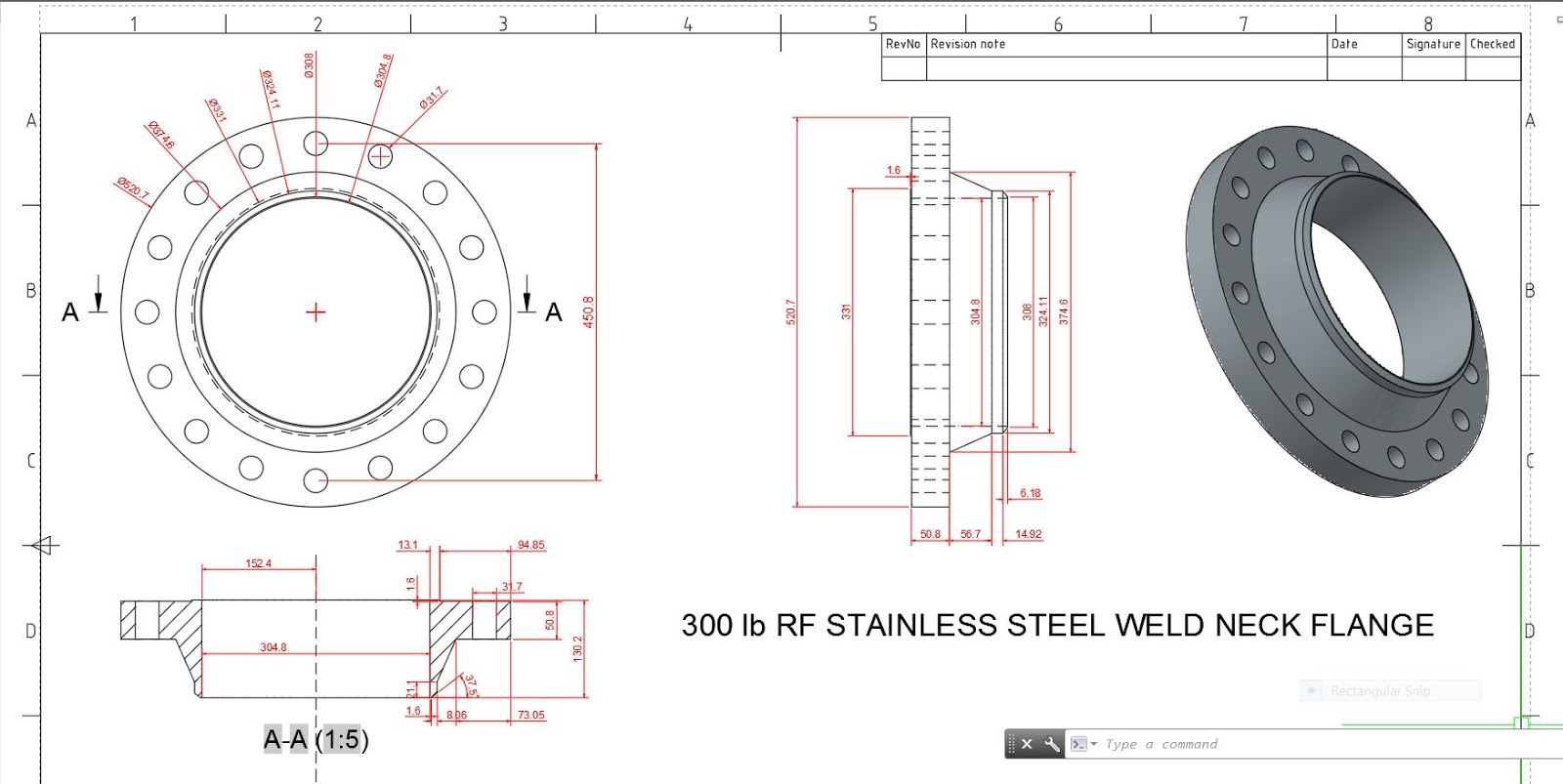 AUTOCAD NETWORK: 300 lb RF Stainless Steel Weld Neck Flange