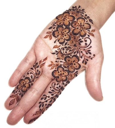 Flowers Mehndi design for front hand