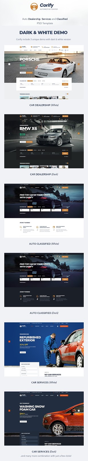 Car Dealership, Services & Classified Template