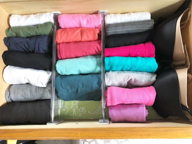organized dresser drawer using dividers from container store