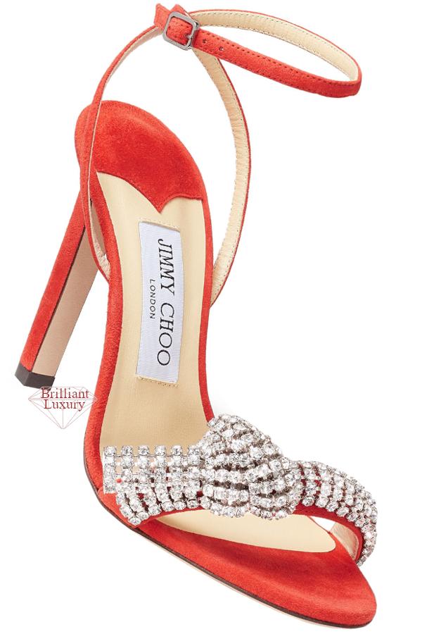 Jimmy Choo Thyra Mandarin-Red Suede Sandals with Pavé Crystal Cord Detail #brilliantluxury