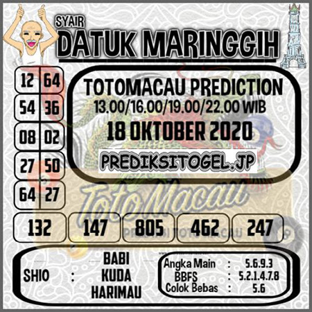 Syair Datuk Maringgih Toto Macau Minggu 18 Oktober 2020