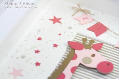 Babybilderrahmen Mädchen; Bilderrahmen Geburt, Collage Geburt; Geschenk zur Geburt; Babybasteleien; Stampinup Recklinghausen; stempel-biene