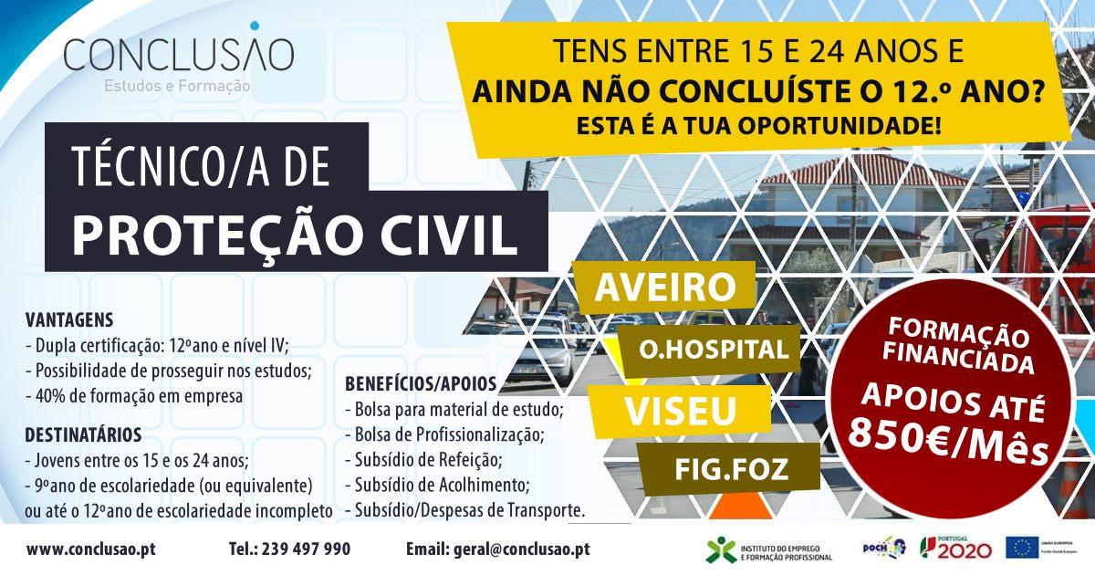 Curso de aprendizagem de Técnico de Proteção Civil – Aveiro, Viseu, Oliv. Hospital e Figueira da Foz